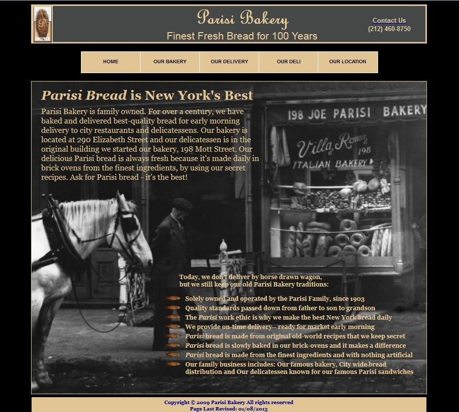 parisi bakery website